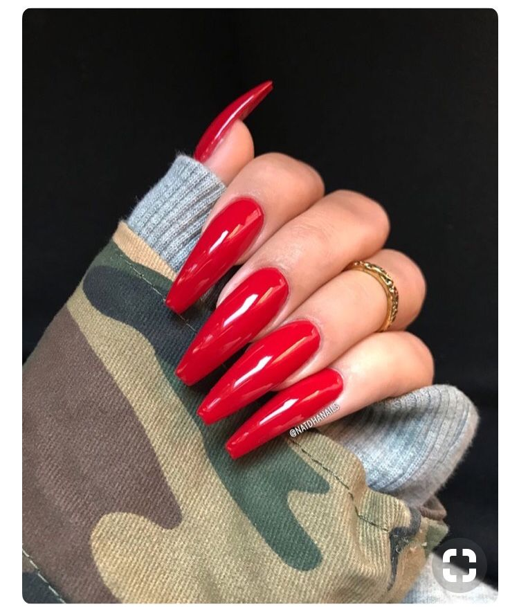 Pinterest Seymonee Long Red Nails Red Acrylic Nails Long Acrylic Nails