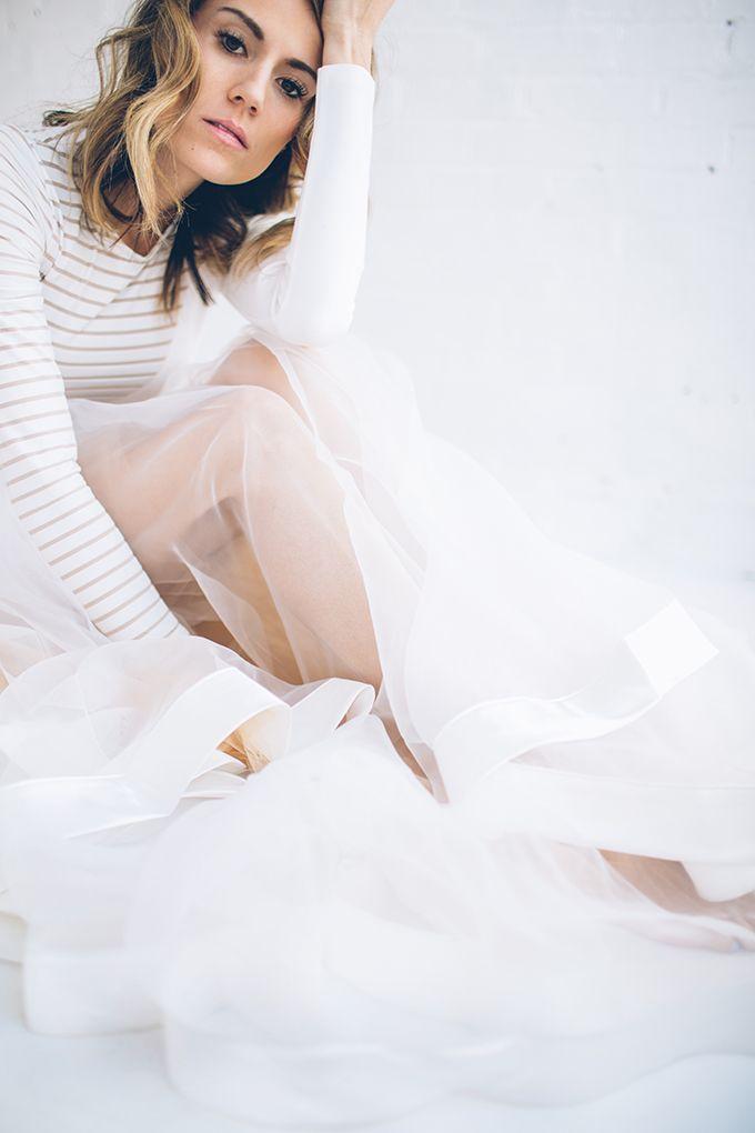 White & nude tulle skirt