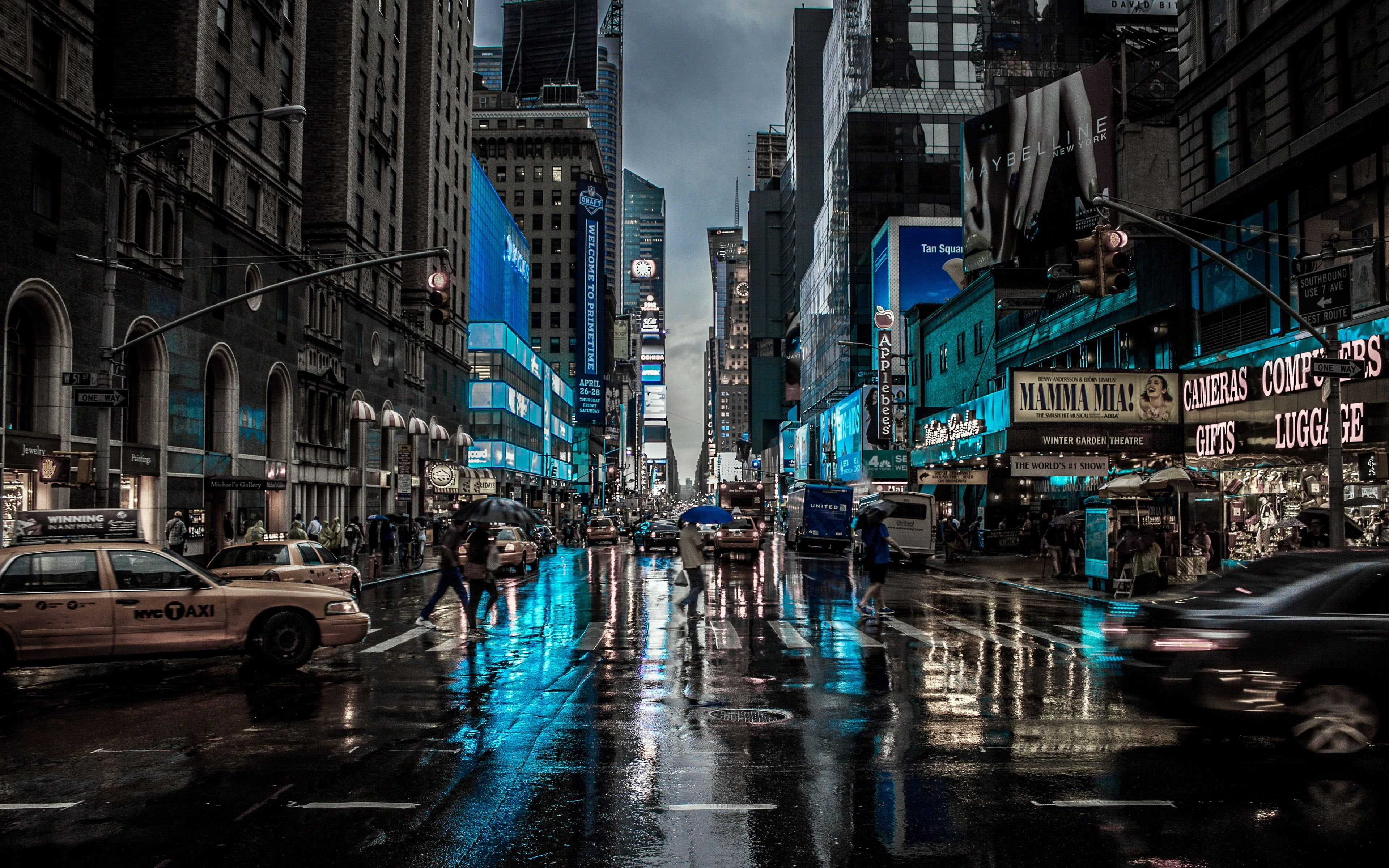 New York City 3d Wallpaper High Rise Buildings And Busy Street In 2021 Fotografie