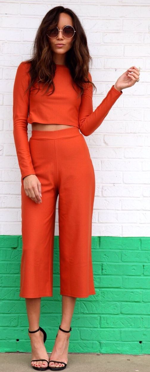 orange culotte set top and trousers women fashion outfit
