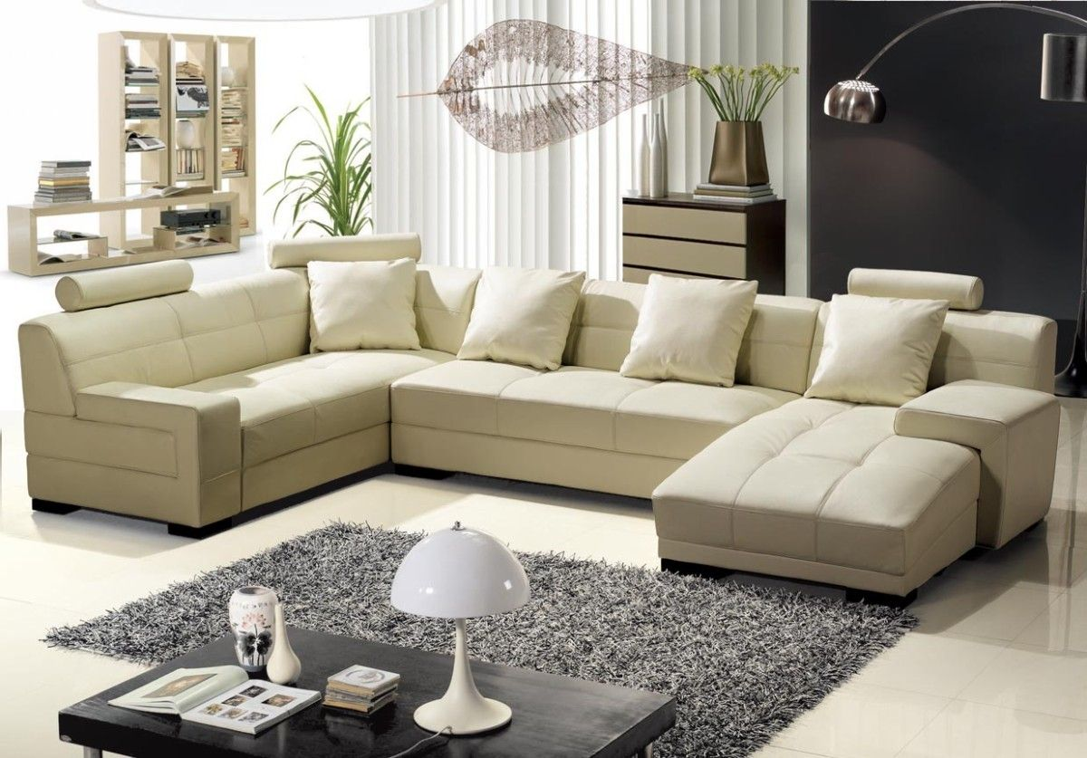 Best 3334B Modern Beige Leather Sectional Sofa Leather Sofa Set Living Room Sofa Leather 400 x 300