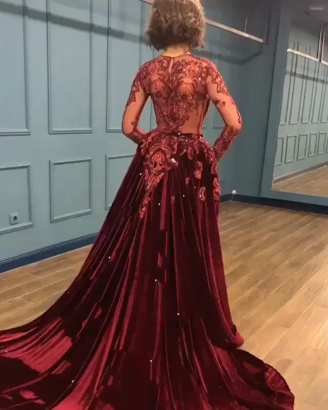 3d1e4e576e9 Gorgeous Long Sleeve Burgundy Prom Dresses