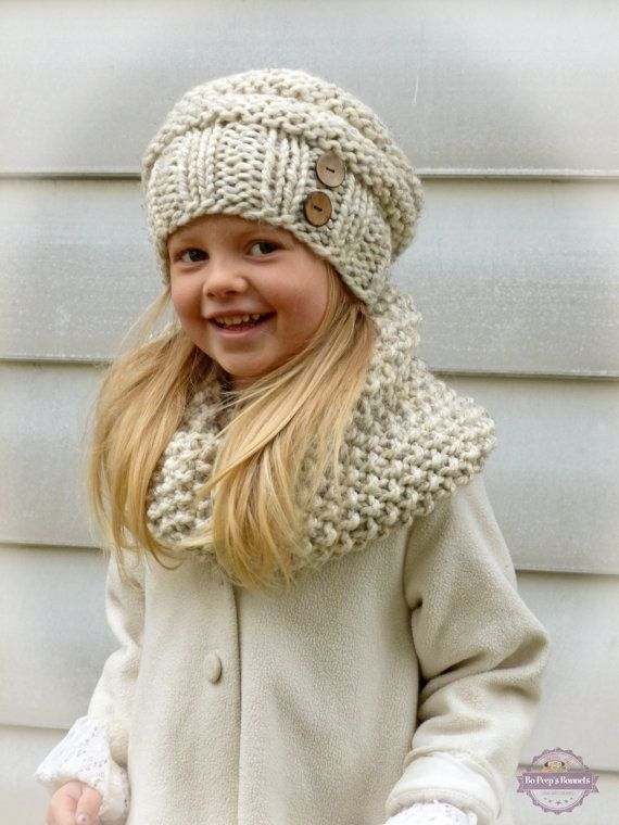 d8ffe362b9e Hand Knit Toddler Kids Slouchy Hat and Cowl Scarf Set in Neutral ...