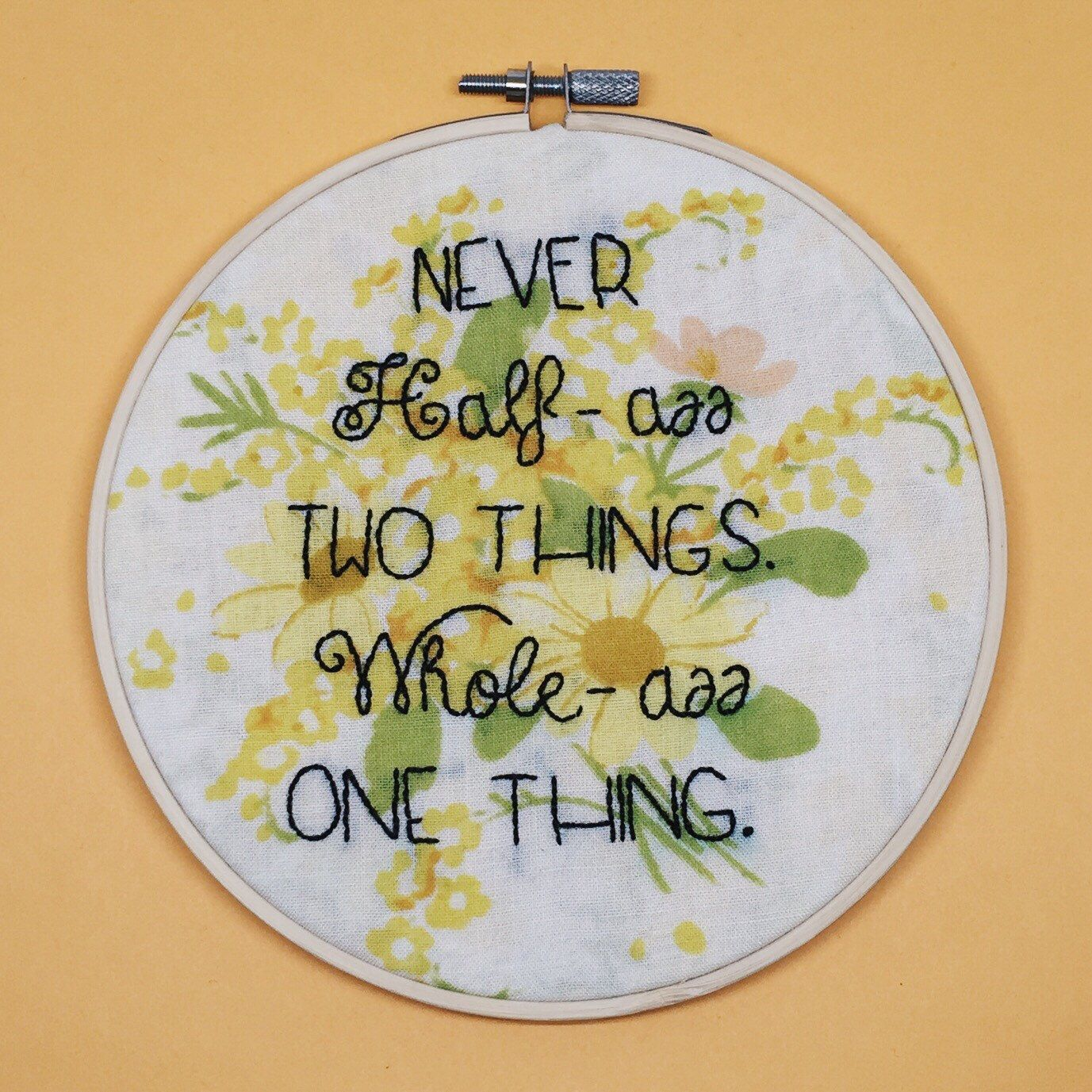 Ron swanson quote hand embroidered parks and rec wall hanging