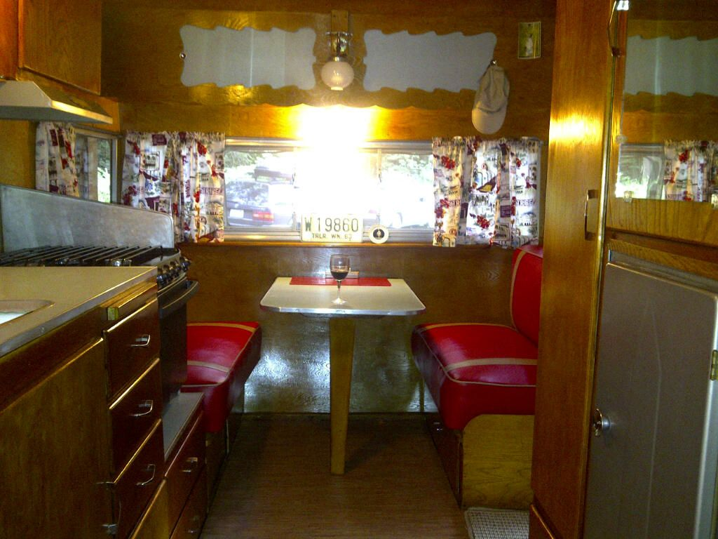 Shasta trailer interior idea I need more red vinyl in my