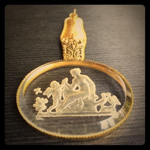 Reverse Carved Glass Pendant Goldtone Greek Interesting reverse carved glass pendant depicting a Greek (?) scene. Framed in goldtone metal. Add your own simple chain for quite the statement piece! Vintage Jewelry Necklaces