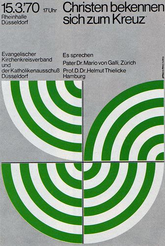"""1970 Poster Advertisement """"Reformationsfeier"""" (Posters for religious meetings in Dusseldorf. Fluorescent colours on silver) Artist: Advertising Agency: Heinrich Brandt / Düsseldorf-Benrath Germany"""