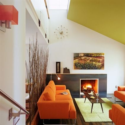 orange paint color living room with modern ceiling design | Heads-Up Hues: 10 Bold Ceiling Colors | Our Favorite Color ...