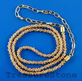 Cord rosegold seedbeaded 6mm 22 inch with 9 inch chain