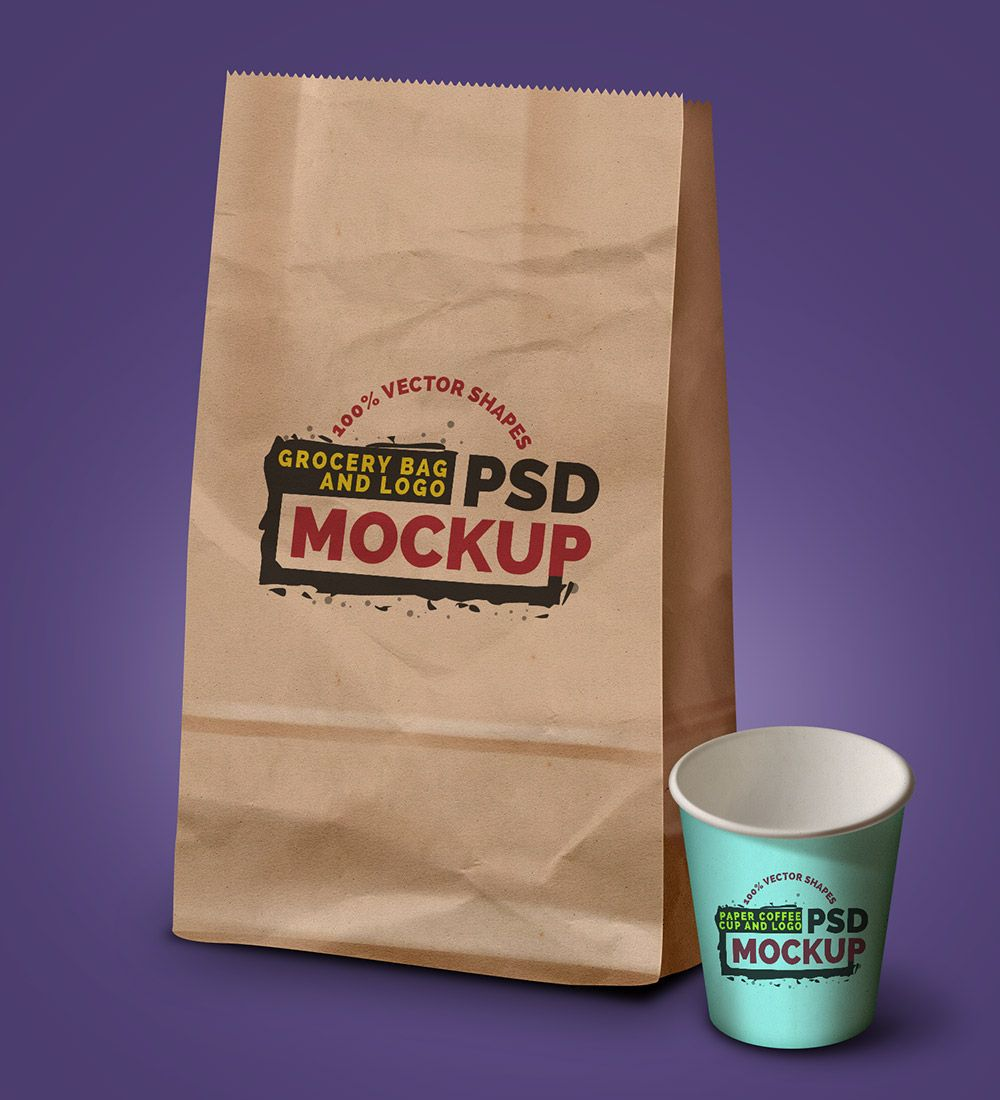 Download Grocery Bag Coffee Cup Logo Psd Mockup Graphicsfuel Bag Mockup Logo Psd Free Logo Psd