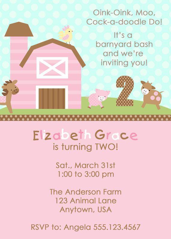 Barnyard Girl Invitation Perfectcardsetsy