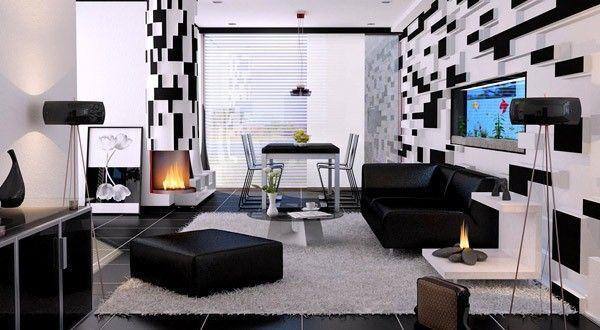 21 fantastische Gestaltungsideen für schwarz-weiße Wohnzimmer ...