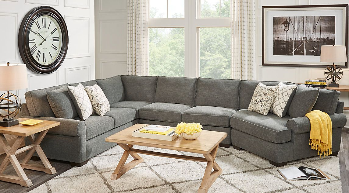 Avonmere Gray 6 Pc Sectional Living Room Living Room Sectional