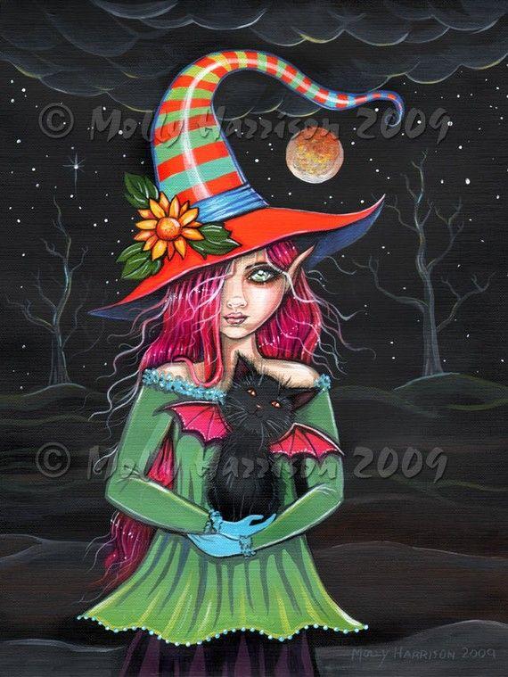 Witch Black Cat Autumn Fine Art Print by Molly Harrison 'Little Wings' 9 x 12…