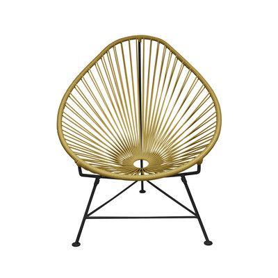 Innit Acapulco Papasan Chair Frame Finish: Black, Weave Color: Gold ...