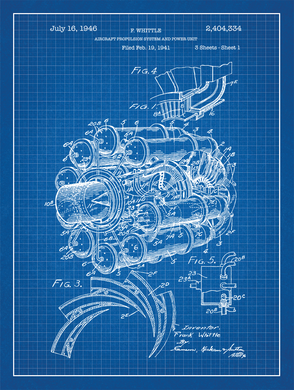 Airplane engine patent print on blue graph paper background kids this item is unavailable blueprint artmesh screenpaper malvernweather Images