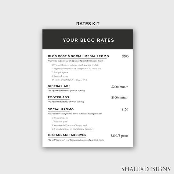 Ad Rate Sheet Blog Rate Kit Press Kit Template Media Kit Etsy In 2021 Blogger Media Kit Template Press Kit Template Blog Kit