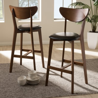 Baxton Studio Eline Mid Century Modern Faux Leather Upholstered
