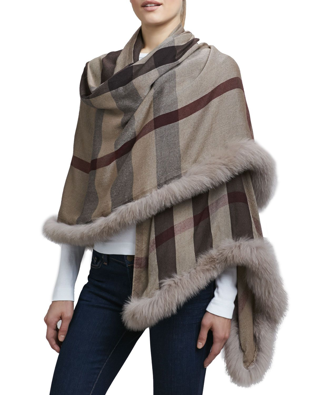 54e3d7fb38f Fur-Trimmed Check Scarf