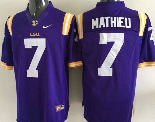 the best attitude 3fe2d 1494d LSU Tigers #7 Tyrann Mathieu Purple Stitched NCAA Jersey ...