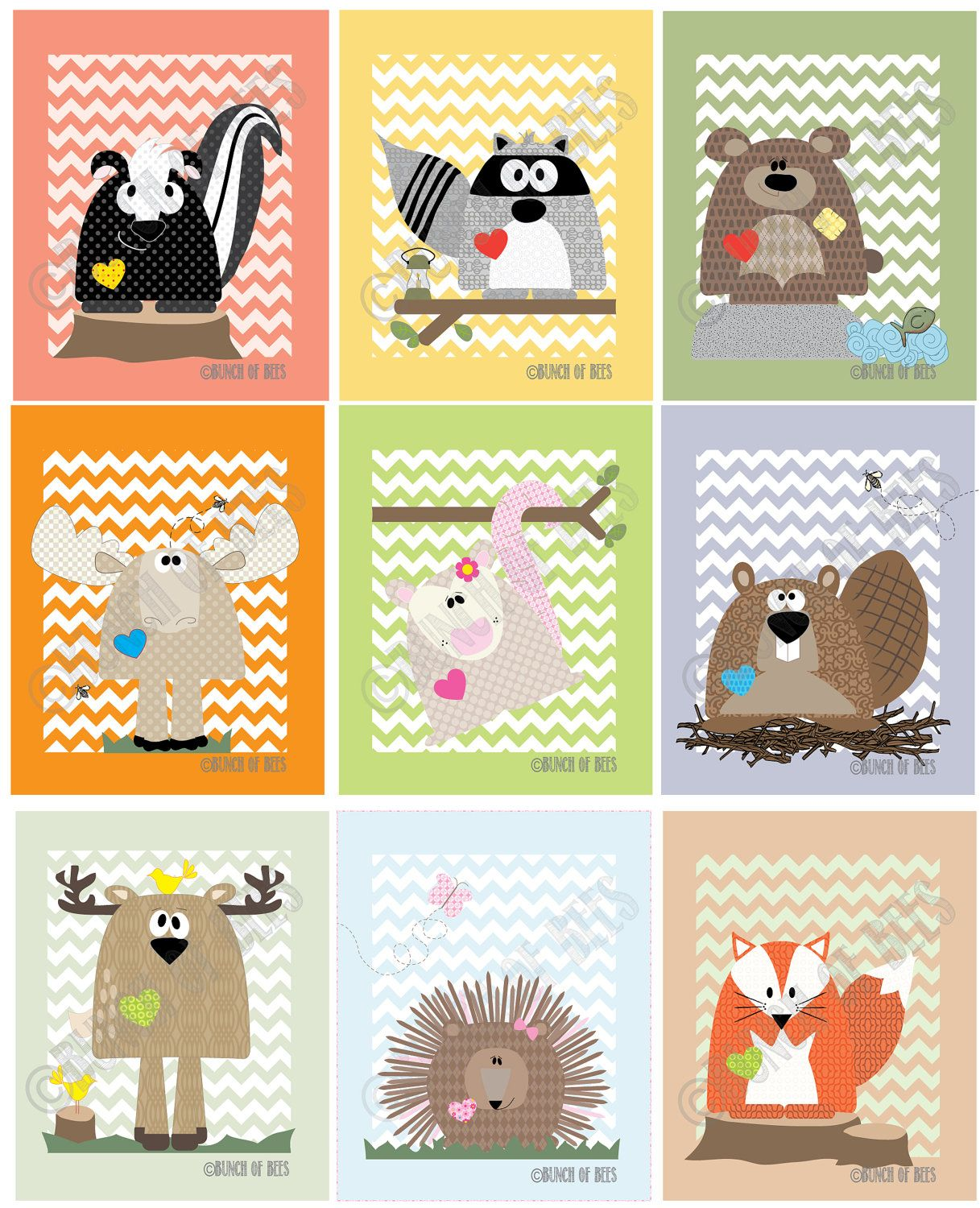 Children prints Woodland Deer on Chevron by bunchofbees on Etsy ...