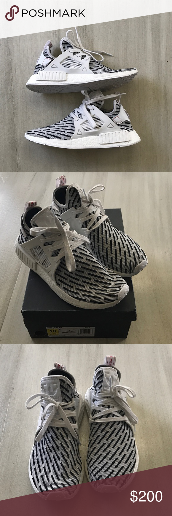 Adidas Originals NMD XR1 Primeknit These NMD XR1 fit true to size. They are lightweight and really comfortable. This pair is in excellent/like new condition. Worn only twice. 100% Authentic, purchased from Adidas store. adidas Shoes Sneakers