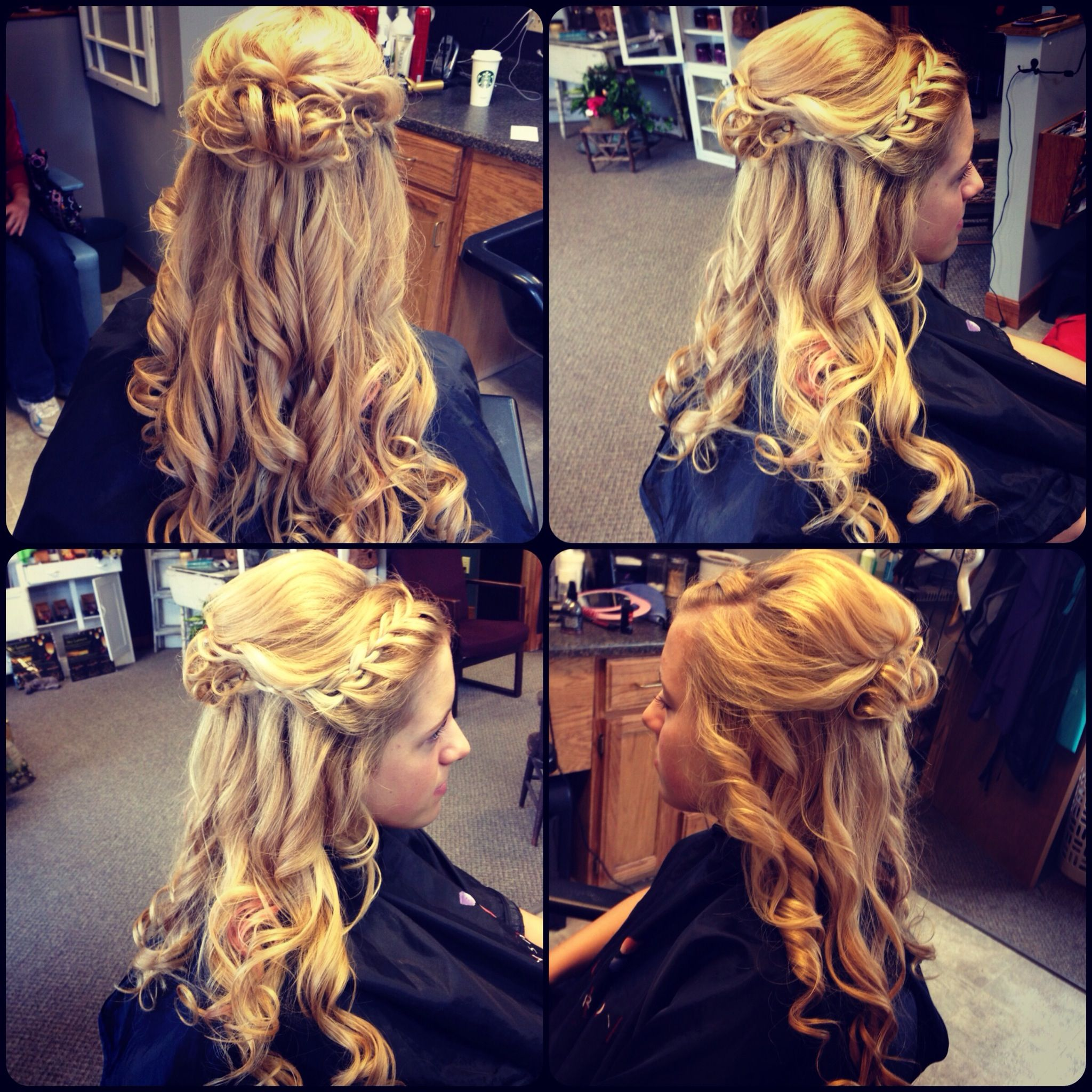 Prom updo upstyle hai pinned up curls curled braid half up ...