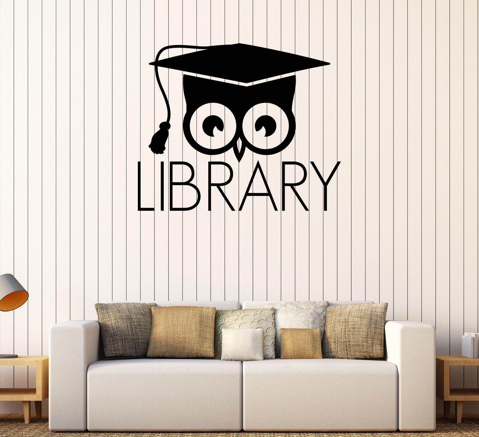 Vinyl Wall Decal Library Books Bookworm Academic Owl Scientific - Vinyl wall decals books