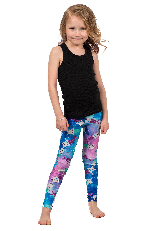 557b05e80 Purrmaid Kids Legging, Printed Kitty Cat Mermaid Baby Tights, Galaxy  Watercolor Pattern Girls Leggings by shophotdame on Etsy