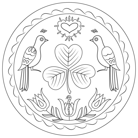Pennsylvania Hex Sign Coloring Page From Pennsylvania Dutch Art Category Select From 24104 P Bird Coloring Pages Pennsylvania Dutch Art Pattern Coloring Pages