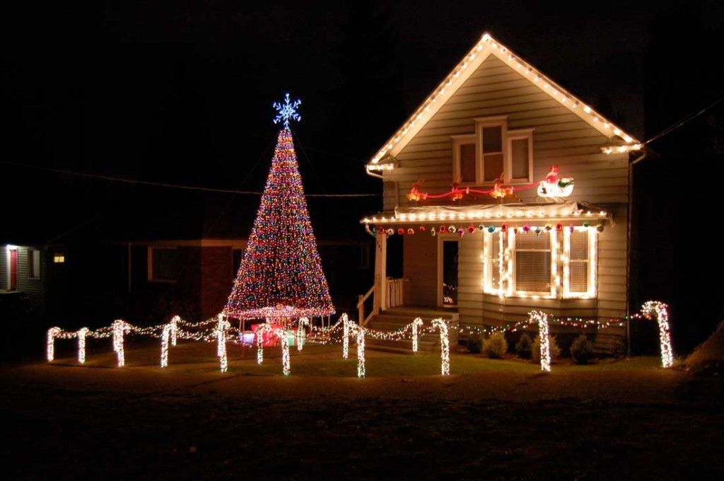 exterior christmas light decoration ideas with christmas tree