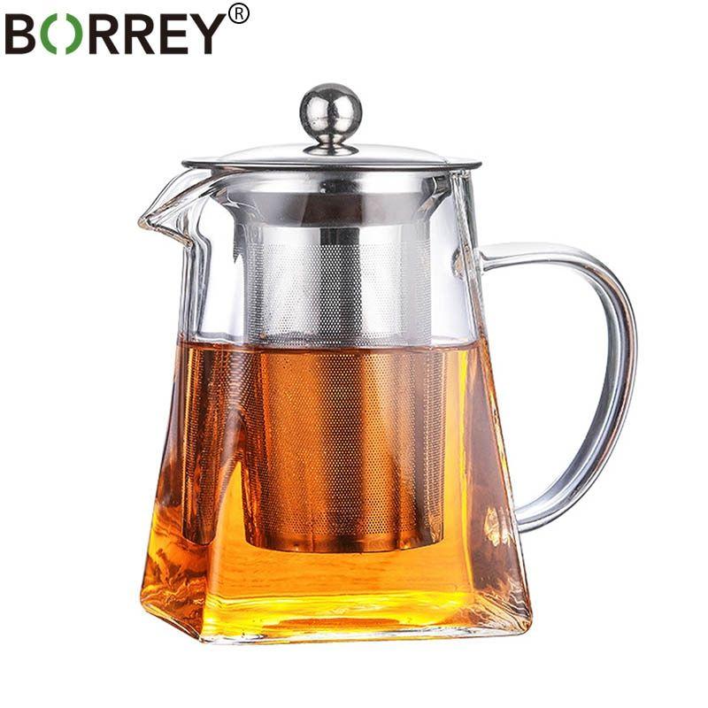 Borrey 500ml Borosilicate Glass Teapot Heat Resistant Square Glass Teapot With Tea Infuser Filter Milk Oolong Flowe In 2020 Glass Teapot Tea Pots Heat Resistant Glass