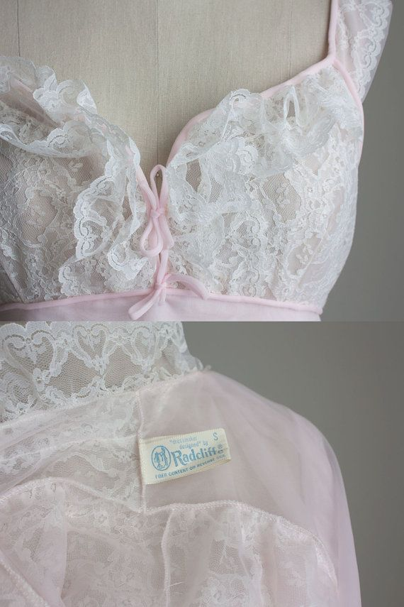 430442b8e2 Pink Peignoir Nightgown Set 1960s Vintage Pale PInk And Ivory Sheer ...