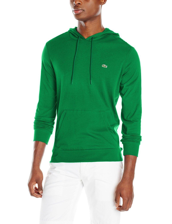 15cd6faf7e Rocket Green - Lacoste Men's Long-Sleeve Jersey Hooded T-Shirt | Amazon.com