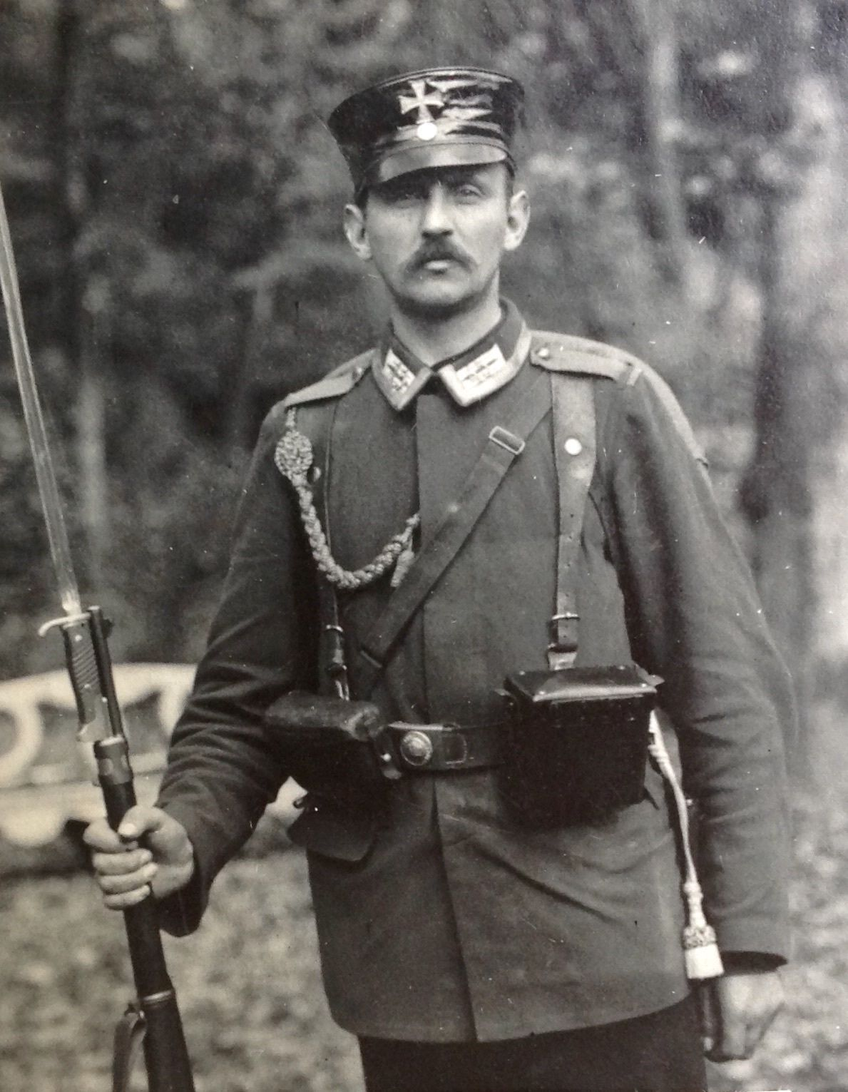 Orig WW1 German Photo: Landswehr Soldier, Cap, Lanyard, Rifle, Bayonet, DETAIL | eBay