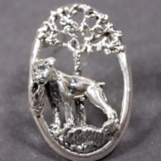Boxer silver BROOCH dog in oval ring