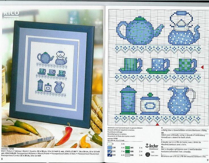 0 0 point de croix grille et couleurs de fils théière tasse bleu