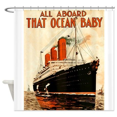 Vintage Ocean Liner Shower Curtain By Worldgraphics With Images