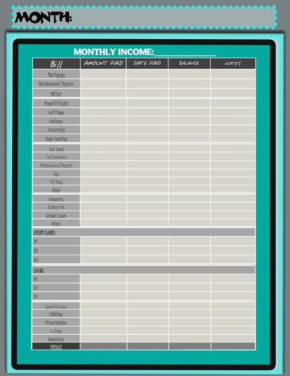 Monthly Budget Form 85x11 AND 11x17 by PorterColeDesigns on Etsy - budget form