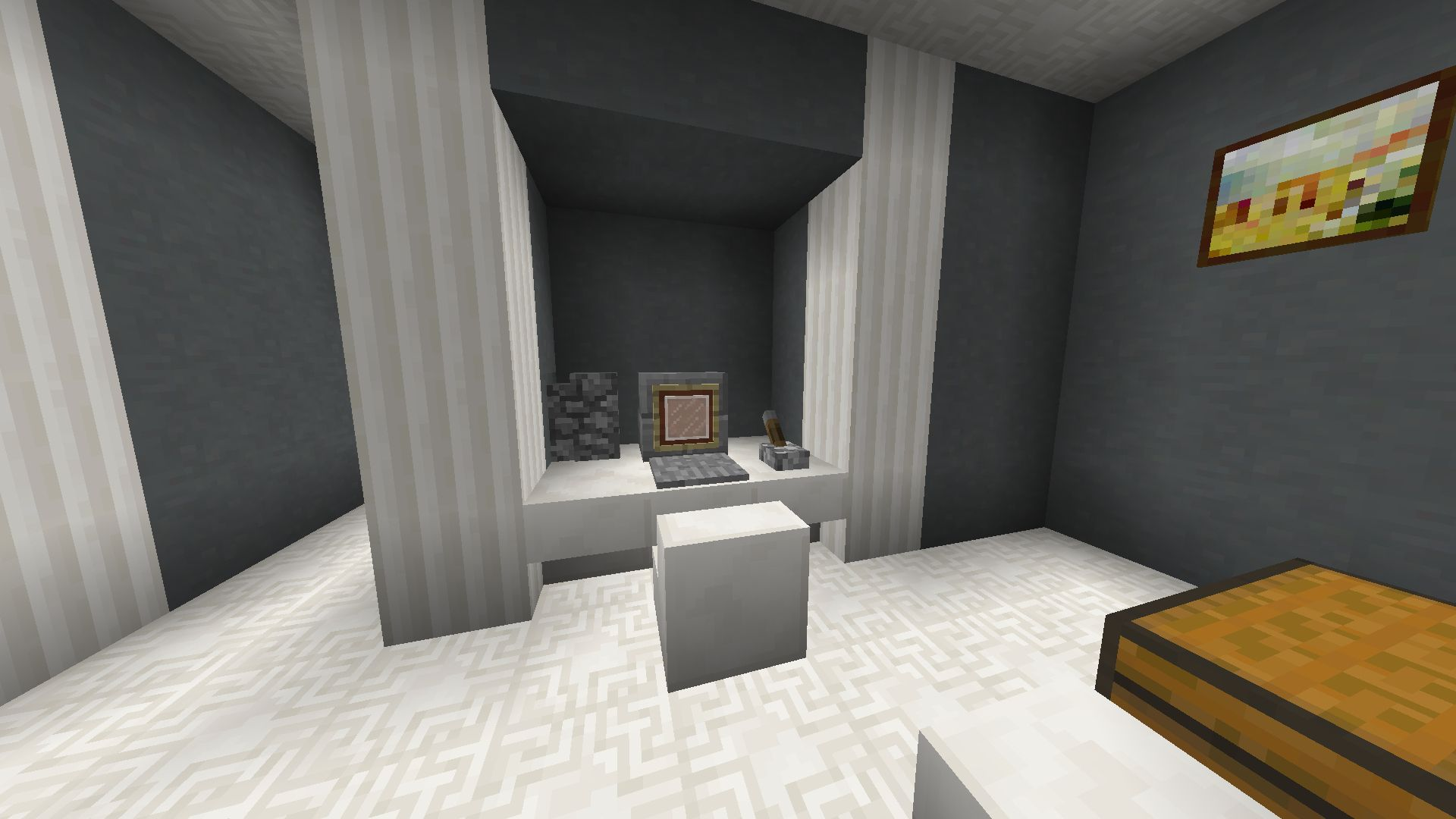 Minecraft computer - Monitor is made from stone bricks stairs and ...