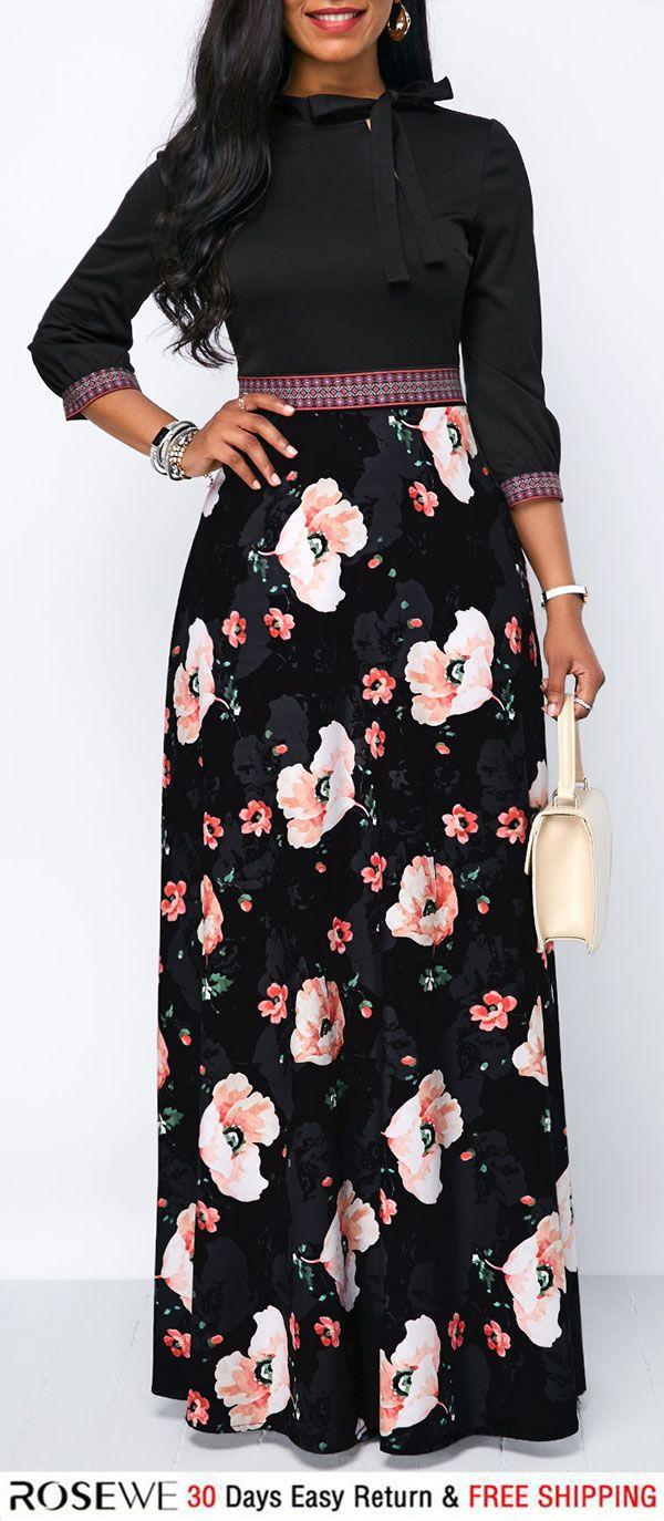 Band waist tie neck flower print maxi dress fall dress pinterest