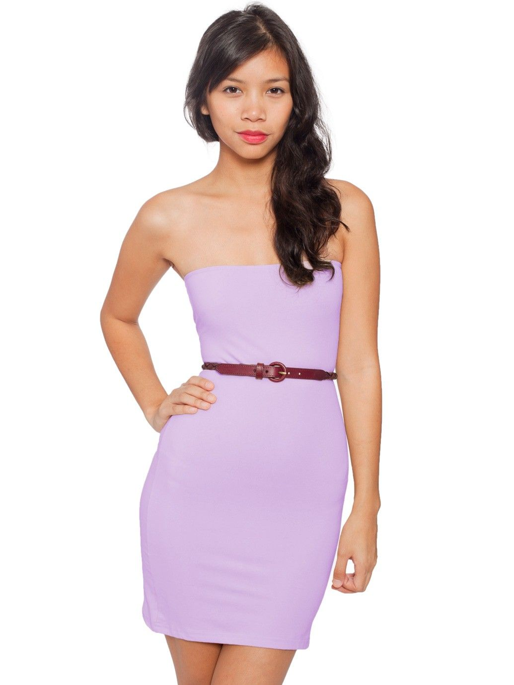 5f4ef4335bb Strapless lavender tube dress from American Apparel.