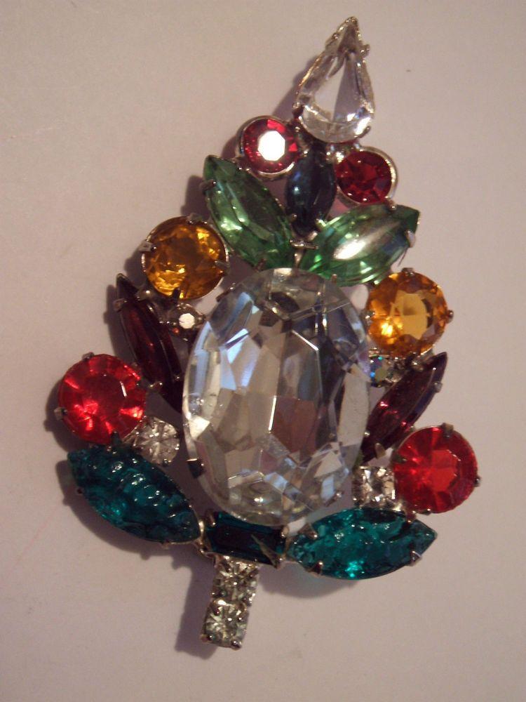 Rhinestone Christmas Tree Pin in Jewelry & Watches, Vintage & Antique Jewelry, Costume | eBay