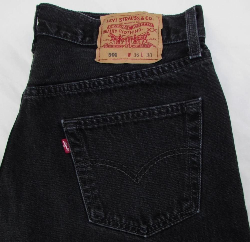 e451f1fd Levis Levi's 501 Jeans Red Tab Black Jeans Straight Leg Button Fly sz 36 X  28…