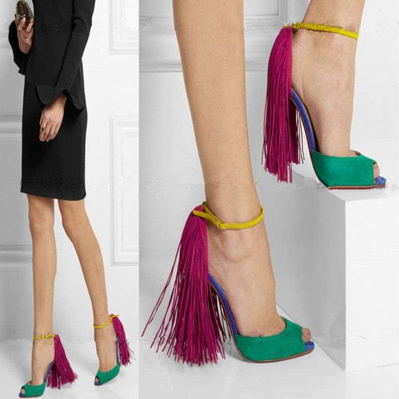 Women Stiletto Heels Sandals Fringed Party Shoes
