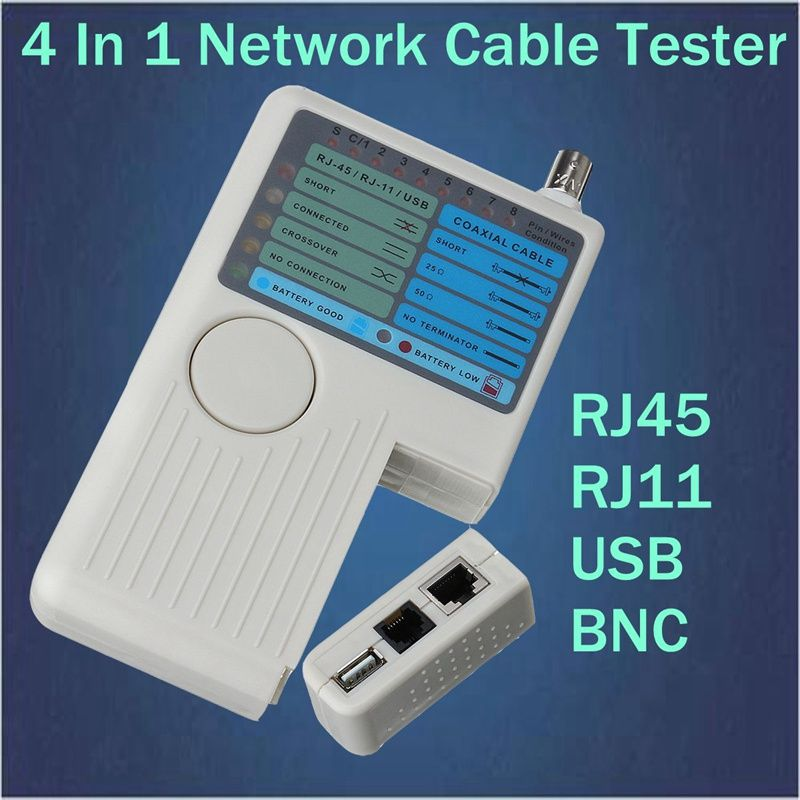 4 In 1 Network Cable Tester RJ45/RJ11/USB/BNC LAN Cable Cat5 Cat6 ...