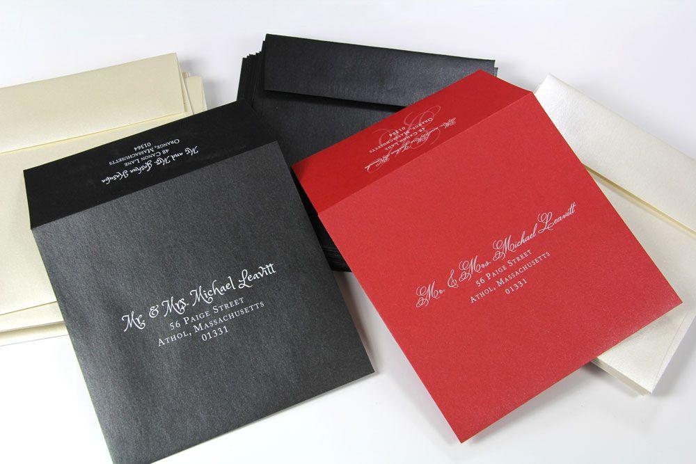 Weddings White printed Stardream Metallic square envelopes