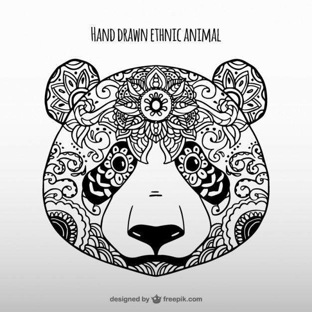 hand drawn ethnic panda vector free download digital freebies in