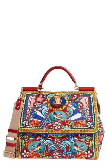 Dolce&Gabbana 'Large Miss Sicily' Carretto Print Top Handle Canvas Satchel available at #Nordstrom