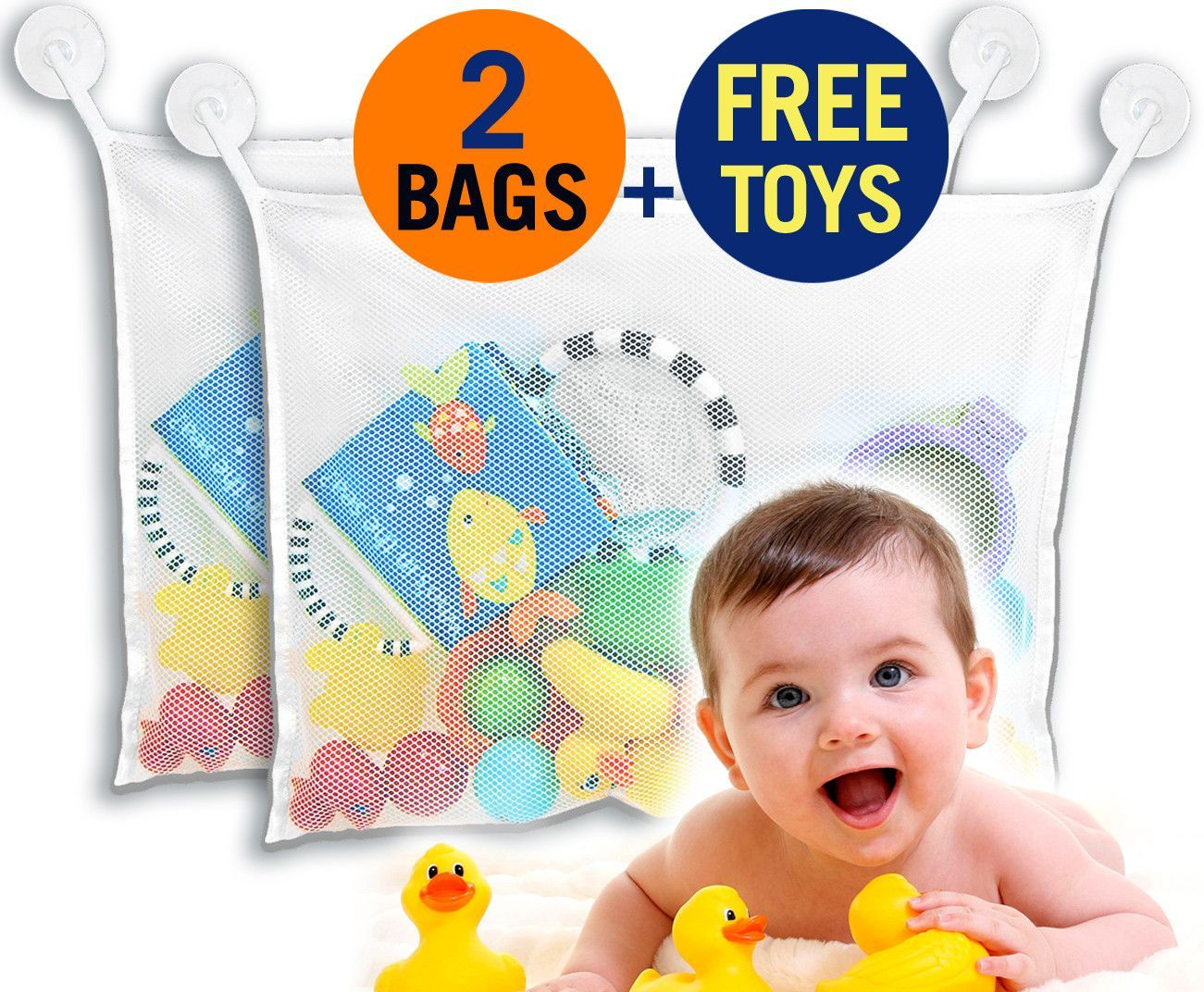 2 Bags) Best Four Sea Squirts Baby Bath Toys PLUS Bath Toy Organizer ...